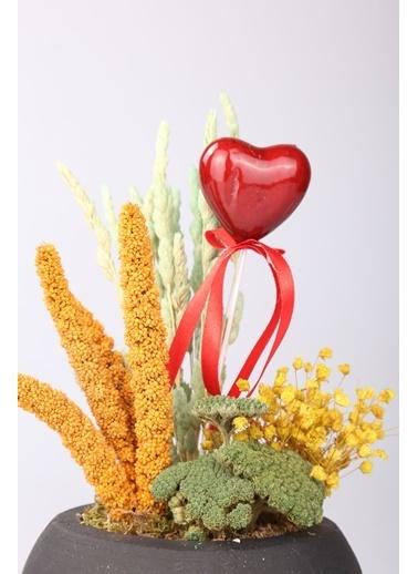 Kibrithane Çiçek Yapay Çiçek Beton Saksı Kuru Çiçek Aranjman Kc00200737 Renkli
